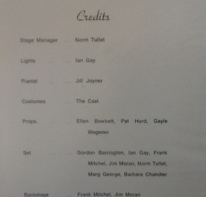 "St James Players ""The Importance of Being Ernest"" credits 1969"