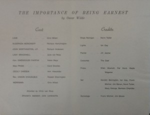"St James Players ""The Importance of Being Ernest"" programme 1969"