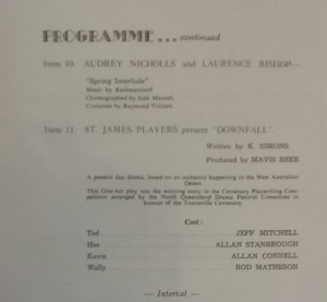 "St James Players in Cenenary Concert programme with ""Downfall"" 1964"