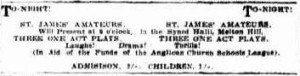 Three one-act plays advertisement. (Townsville Daily Bulletin Thurs 25 Oct 1928)