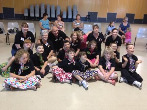 Some of the Tiny Tappers Townsville group in 2013 with their volunteer helpers.