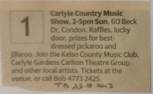 Carlyle Country Music Show, Carlyle Gardens, Townsville Sun 24 Aug 2013 (TDB Sat 23 Aug 2013)