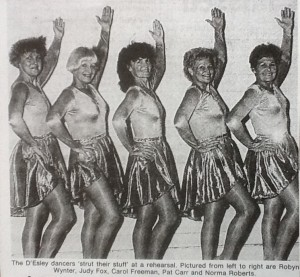D'Esley Dancers the original group in 1989 L-R: Robyn Wynter, Judy Fox, Carol Freeman, Pat Carr, and Norma Roberts. (Townsville Daily Bulletin 1989)