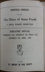 """""""Diary of Anne Frank"""" programme 1960"""